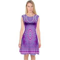 India Ornaments Mandala Pillar Blue Violet Capsleeve Midi Dress by EDDArt