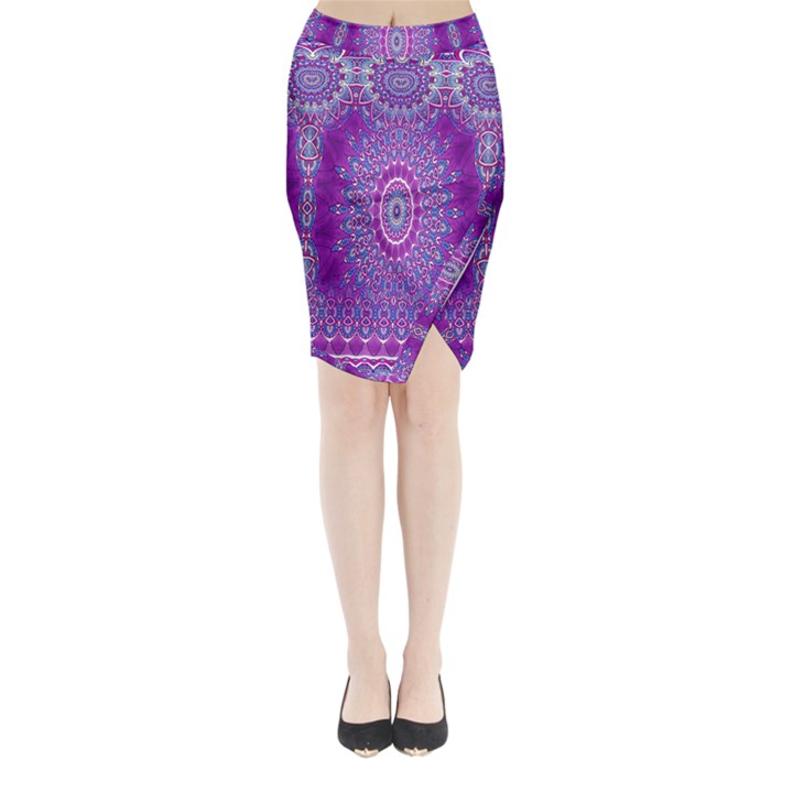 India Ornaments Mandala Pillar Blue Violet Midi Wrap Pencil Skirt