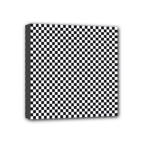 Sports Racing Chess Squares Black White Mini Canvas 4  X 4  by EDDArt