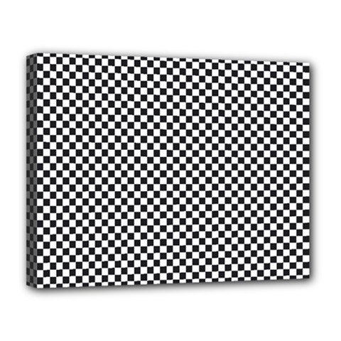Sports Racing Chess Squares Black White Canvas 14  X 11  by EDDArt