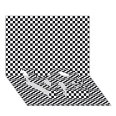 Sports Racing Chess Squares Black White Love Bottom 3d Greeting Card (7x5) by EDDArt