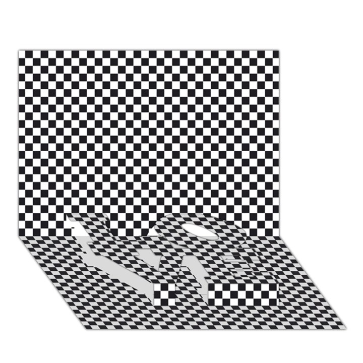 Sports Racing Chess Squares Black White LOVE Bottom 3D Greeting Card (7x5)