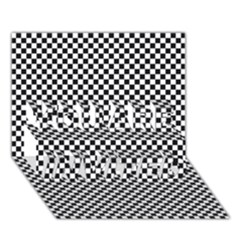Sports Racing Chess Squares Black White You Are Invited 3d Greeting Card (7x5)