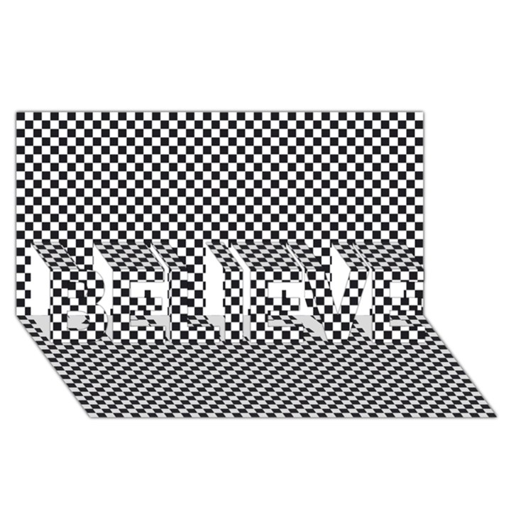 Sports Racing Chess Squares Black White BELIEVE 3D Greeting Card (8x4)