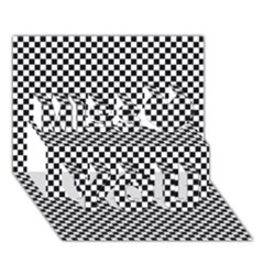 Sports Racing Chess Squares Black White Miss You 3d Greeting Card (7x5) by EDDArt