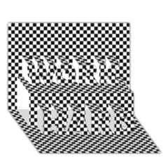 Sports Racing Chess Squares Black White Work Hard 3d Greeting Card (7x5) by EDDArt