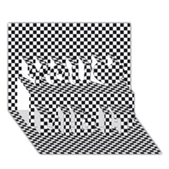 Sports Racing Chess Squares Black White You Did It 3d Greeting Card (7x5) by EDDArt