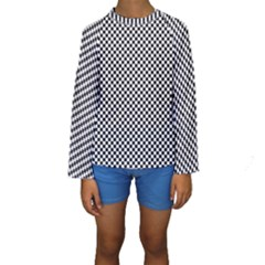 Sports Racing Chess Squares Black White Kids  Long Sleeve Swimwear