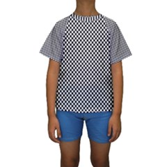 Sports Racing Chess Squares Black White Kids  Short Sleeve Swimwear