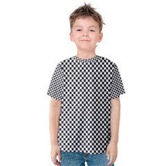 Sports Racing Chess Squares Black White Kids  Cotton Tee by EDDArt