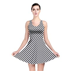 Sports Racing Chess Squares Black White Reversible Skater Dress by EDDArt