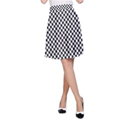 Sports Racing Chess Squares Black White A Line Skirt by EDDArt