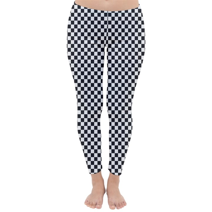 Sports Racing Chess Squares Black White Winter Leggings