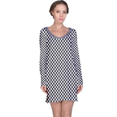 Sports Racing Chess Squares Black White Long Sleeve Nightdress