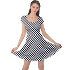 Sports Racing Chess Squares Black White Cap Sleeve Dresses by EDDArt