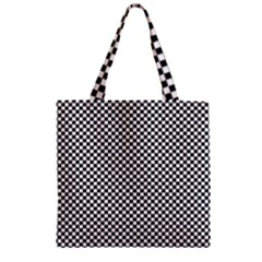 Sports Racing Chess Squares Black White Zipper Grocery Tote Bag by EDDArt