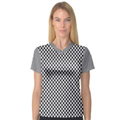 Sports Racing Chess Squares Black White Women s V Neck Sport Mesh Tee