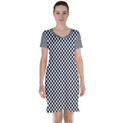 Sports Racing Chess Squares Black White Short Sleeve Nightdress