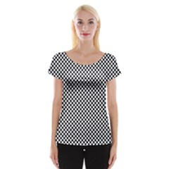 Sports Racing Chess Squares Black White Women s Cap Sleeve Top