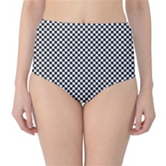 Sports Racing Chess Squares Black White High Waist Bikini Bottoms by EDDArt