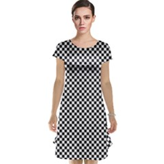 Sports Racing Chess Squares Black White Cap Sleeve Nightdress by EDDArt