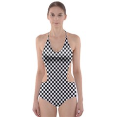 Sports Racing Chess Squares Black White Cut Out One Piece Swimsuit