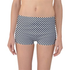 Sports Racing Chess Squares Black White Reversible Boyleg Bikini Bottoms