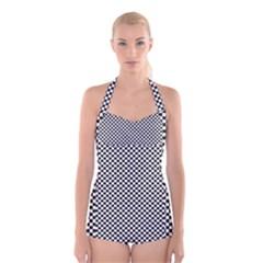 Sports Racing Chess Squares Black White Boyleg Halter Swimsuit