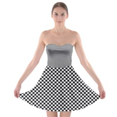 Sports Racing Chess Squares Black White Strapless Bra Top Dress