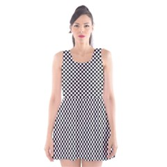 Sports Racing Chess Squares Black White Scoop Neck Skater Dress by EDDArt