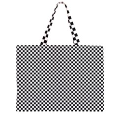 Sports Racing Chess Squares Black White Zipper Large Tote Bag by EDDArt