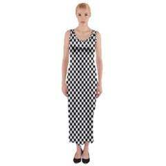 Sports Racing Chess Squares Black White Fitted Maxi Dress by EDDArt