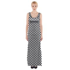 Sports Racing Chess Squares Black White Maxi Thigh Split Dress by EDDArt