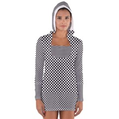 Sports Racing Chess Squares Black White Women s Long Sleeve Hooded T Shirt