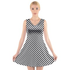 Sports Racing Chess Squares Black White V Neck Sleeveless Skater Dress