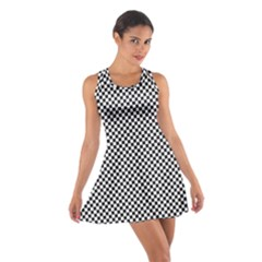Sports Racing Chess Squares Black White Cotton Racerback Dress by EDDArt
