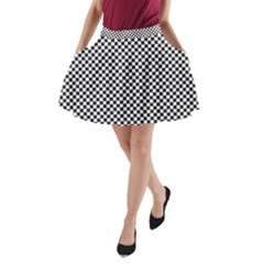 Sports Racing Chess Squares Black White A Line Pocket Skirt by EDDArt