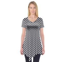 Sports Racing Chess Squares Black White Short Sleeve Tunic  by EDDArt