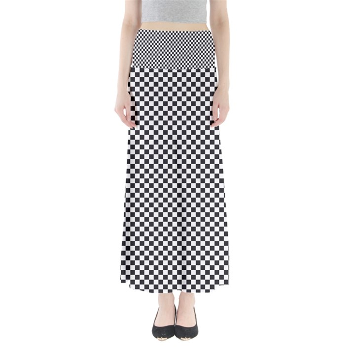 Sports Racing Chess Squares Black White Maxi Skirts
