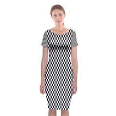 Sports Racing Chess Squares Black White Classic Short Sleeve Midi Dress