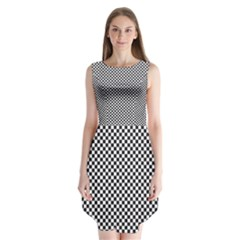 Sports Racing Chess Squares Black White Sleeveless Chiffon Dress   by EDDArt