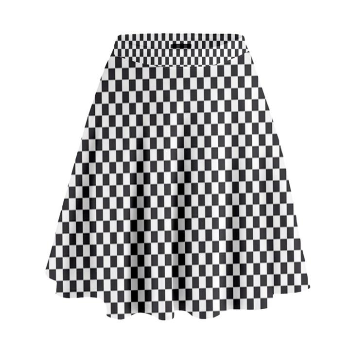Sports Racing Chess Squares Black White High Waist Skirt