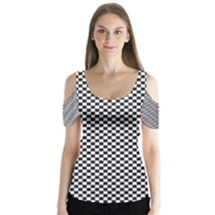 Sports Racing Chess Squares Black White Butterfly Sleeve Cutout Tee  by EDDArt