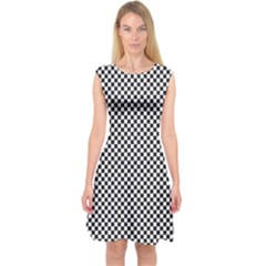 Sports Racing Chess Squares Black White Capsleeve Midi Dress by EDDArt