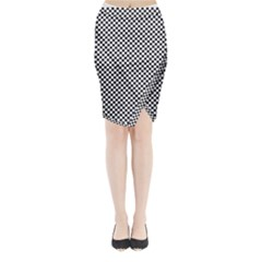Sports Racing Chess Squares Black White Midi Wrap Pencil Skirt by EDDArt