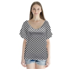 Sports Racing Chess Squares Black White Flutter Sleeve Top