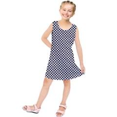 Sports Racing Chess Squares Black White Kids  Tunic Dress by EDDArt