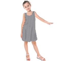 Sports Racing Chess Squares Black White Kids  Sleeveless Dress by EDDArt