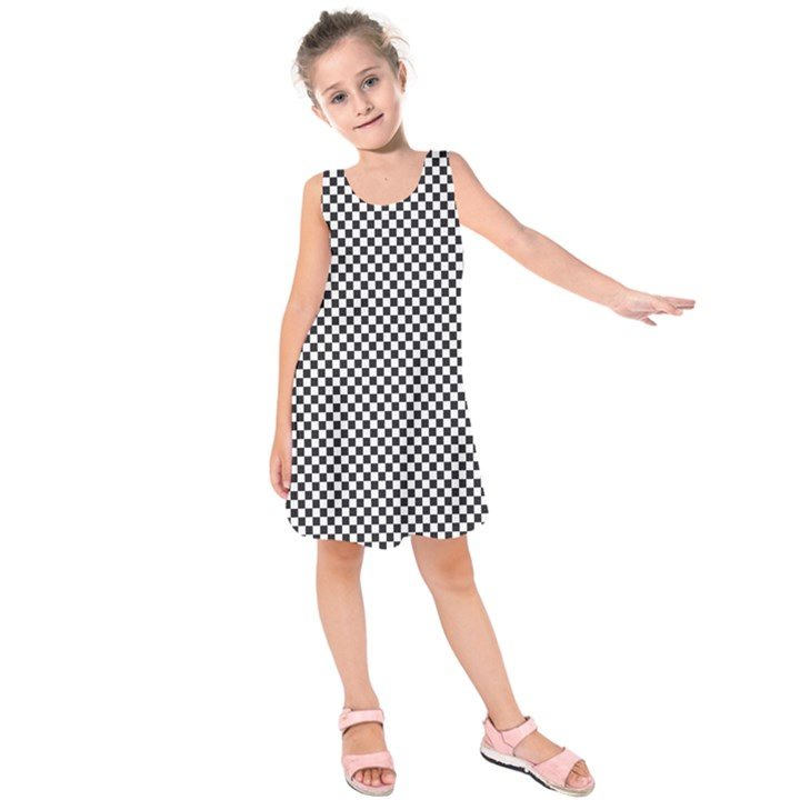 Sports Racing Chess Squares Black White Kids  Sleeveless Dress