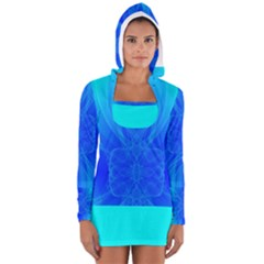 Blue Sky  Women s Long Sleeve Hooded T Shirt